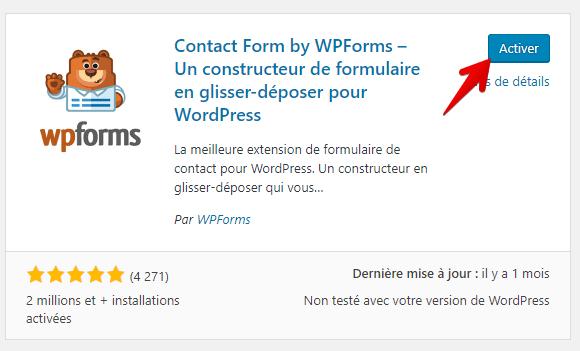 Activer le plugin wpforms