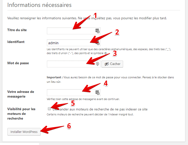 Installer wordpress en local etape 3