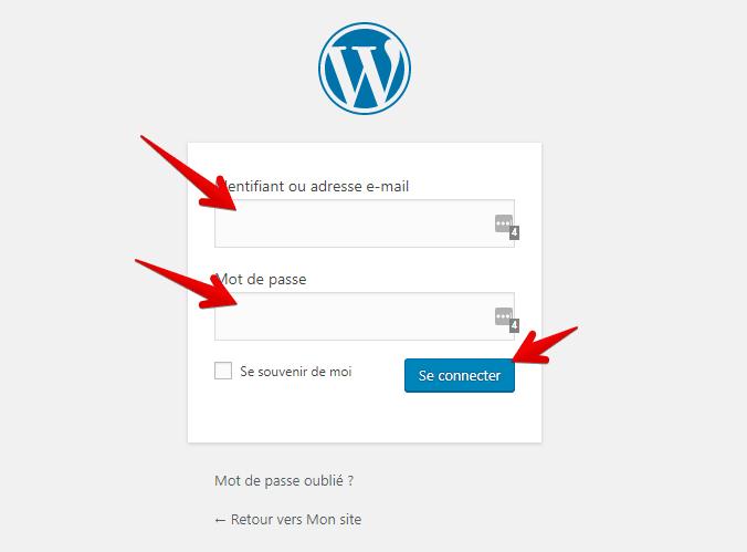 connexion à l'administration de wordpress