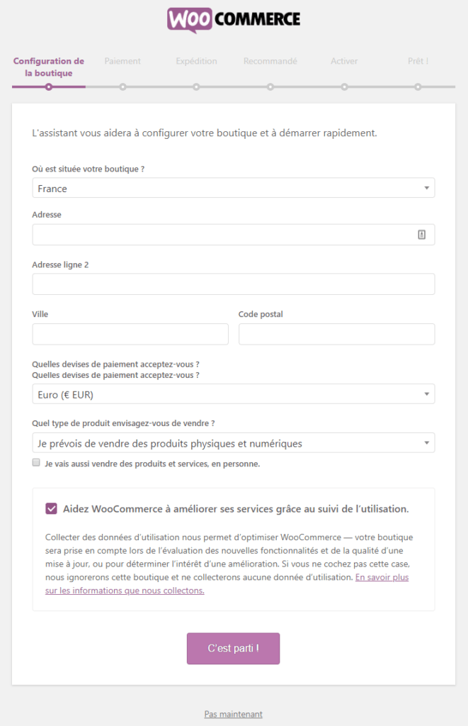 installer woocommerce : configuration de la boutique
