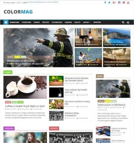 Thèmes wordpress gratuits Colormag