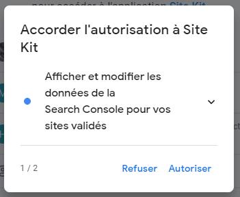 configurer site kit by google autorisation 1