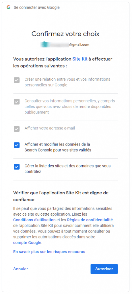 configurer site kit by google autorisation 3