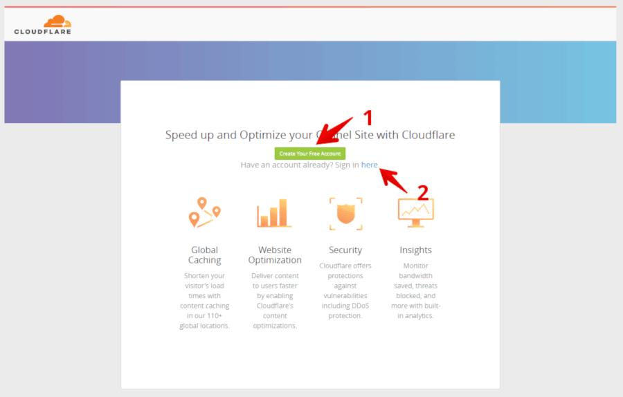 Créer un compte gratuit Cloudflare cdn