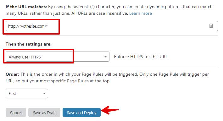 Règle pour forcer le passage au HTTPS sur Cloudflare
