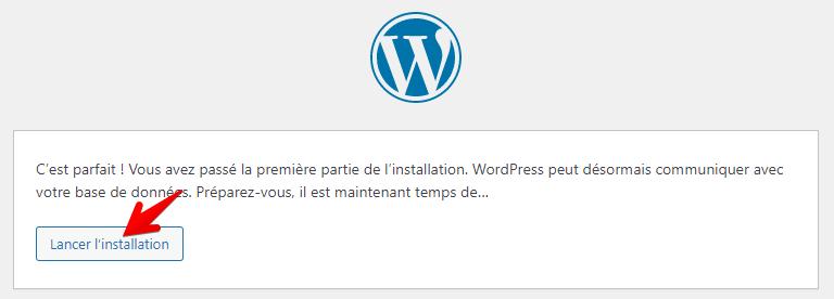 Lancement de l'installation de WordPress