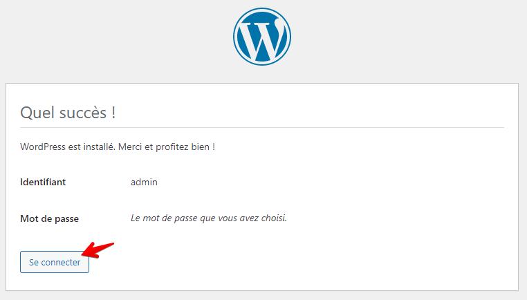 Fin de l'installation de WordPress
