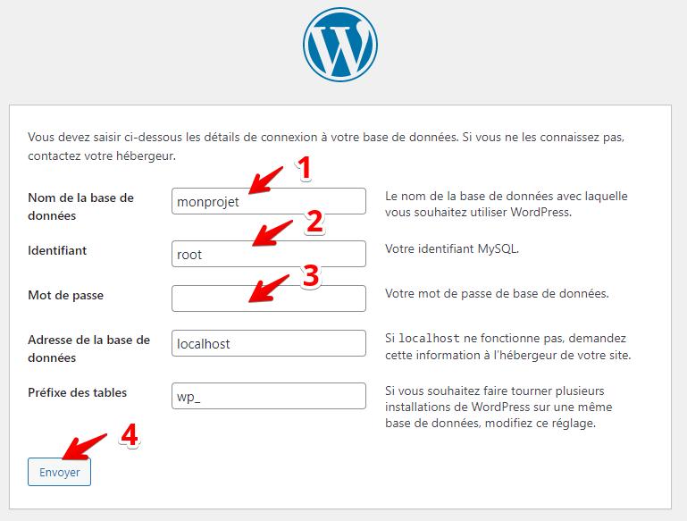 Installation WordPress - Coordonnées de la base de données