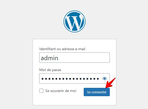 Connexion au tableau de bord WordPress